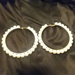 New Big Round Pearl Gold Earrings